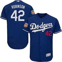 Los Angeles Dodgers #42 Men's Jackie Robinson Authentic Royal Blue Alternate Cool Base Jersey