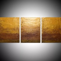 "ARTFINDER: triptych 3 panel wall art colorful images ""Gold Intervention"" 3 panel canvas wall abstract canvas pop abstraction 48 x 20 "" other sizes available by Stuart Wright - ""Gold Intervention""