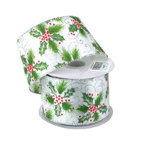 Holly Leaf Satin Holiday Christmas Ribbon Wired Edge, 2-1/2-Inch, 10 Yards, Green/White