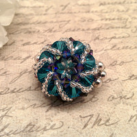 The Maddy- Teal and Purple Velvet Swarovski Crystal Cesetial Inspired Fashion Ring