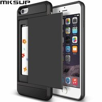 New Hybrid Tough Capa Case For Apple iphone 5 5S SE 6 6S 7 8 Plus Slider Card Holder Wallet Armor Phone Back Cover for iphone X