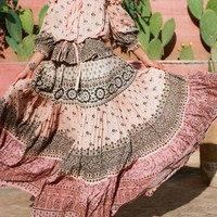 Pink Tribal Print Drawstring Draped High Waisted Bohemian Skirt