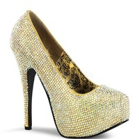 Bordello Teeze Gold Iridescent Rhinestone Platform Pump