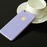 """Lavender Candy Color Soft TPU Silicon Apple Logo Window Phone Cover Case Shell for iPhone 6/6s 4.7"""" Inch"""