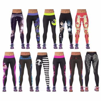 Women YOGA Workout Pants Digital Printing Sports Pants Fitness Stretch Trouser