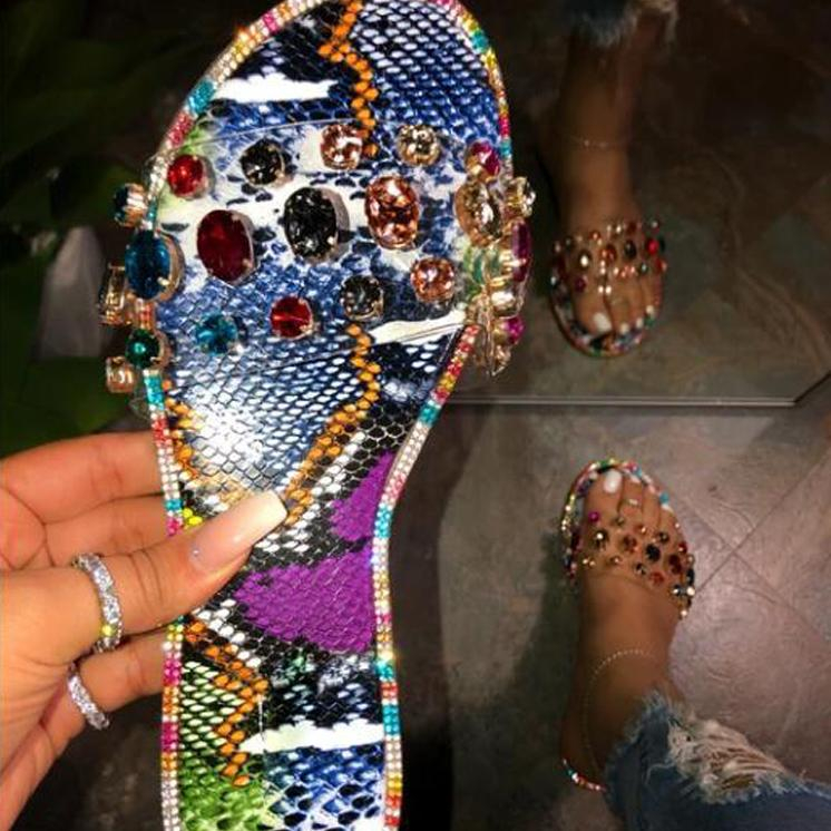 Image of Glitter Slippers Women Sandals Fashion Bling Female Candy Color Flip Flops Beach Diamond Flat Shoes Outdoor Sandals
