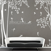 Nature vinyl forest tree wall decal with Fairy decal Baby girl Fairy forest wall sticker for living room bedroom decor nursery tree forest