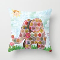 Hello Sunshine - Jungle Elephant Throw Pillow by Silva Ware by Walter Silva
