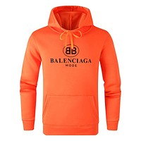 Vogew Balenciaga new logo print hooded pullover sweater orange
