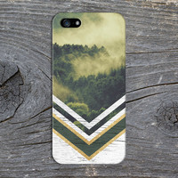 Green Forest Fog x Gold Glitter x White Wood Phone Case for iPhone 6 6 Plus iPhone 5 5s 5c 4 4s Samsung Galaxy s6 s5 s4 & s3 and Note 5 4 3