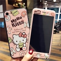 For iPhone X 8 8plus Cartoon Hello Kitty back Cover +Tempered Glass Screen Flim For iphone7 7plus 6 6Splus cover cartoon pink