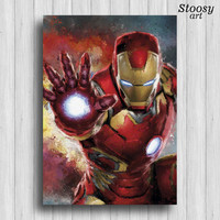 Iron Man poster superhero print avengers gift marvel art