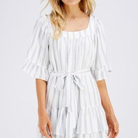 Square Neck Ruffle Shirred Dress