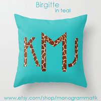Monogram Personalized Custom Pillow Cover 16x16 Couch Art Bedroom Room Fancy Decor Initials Name Hot Pink Teal Black Neon Giraffe Spots