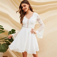Knot Backless Lace Bodice Mesh Sleeve Sexy Dress Women Solid V Neck Long Sleeve White Dress A Line Dress