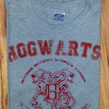 Red Print Trendy Pop Culture Harry Potter Hogwarts Alumni College University Style tee t-shirt tshirt Toddler Youth Adult Unisex Ladies Female Gray
