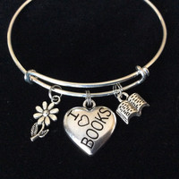 Silver I Love Books Charm with Book and Daisy on Expandable Bracelet Handmade Adjustable Silver Wire Bangle Book Club Gift