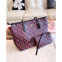 Coach hot seller of casual lady printed shopping two-piece one-shoulder bag