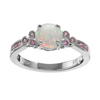Lab-Created Opal & Lab-Created Pink Sapphire Sterling Silver Ring