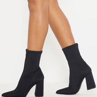 Black Block Heeled Point Toe Sock Boot