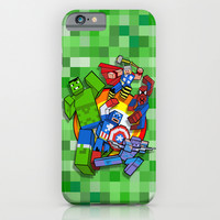 Funny Cute Cube Superheroes group iPhone 4 4s 5 5c 6, pillow case, mugs and tshirt iPhone & iPod Case by Three Second