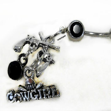 Cowgirl Belly Ring, Country Girl, Country Western, Trendy Belly Ring, Beach Belly, Pistol,Gun, Rodeo Jewelry, Ready to Ship, Direct Checkout