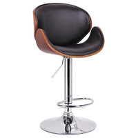 Crocus Walnut & Black Modern Bar Stool