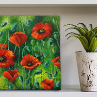 Original painting acrylic Author's picture poppy flowers Impressions original art  Wall art