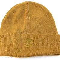 Timberland Men's Cuff Ribbed Solid Wheat Brown Line Beanie Hat