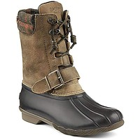 Women's Saltwater Misty Plaid Duck Boot in Black and Tan by Sperry