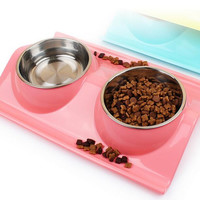 High Quality ECO-Friendly PP Material Pet Dog and Cat Water and Food Storage Bowl Splash-proof  PP and Stainless Steel Feeder