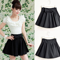 Korean Stylish Ladies Black Bow High Waist Skirt Mini Shorts