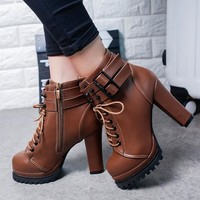 New Women Brown Round Toe Chunky Rivet Fashion Ankle Boots