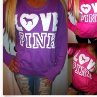 Pink Victoria S Secret Letter Pattern Print Top Sweater Pullover Sweatshirt