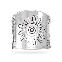 CleverSilver's Tapered Flower Design Sterling Silver Ring