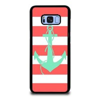 CORAL AND MINT STRIP ANCHOR Samsung Galaxy S8 Plus Case Cover