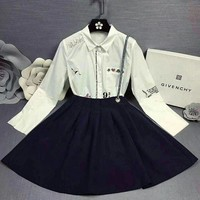 DCCKVQ8 Givenchy' Women Temperament Casual Long Sleeve Letter Pattern Embroidery Lapel Shirt Ruffle Back Strap Short Skirt Set Two-Piece