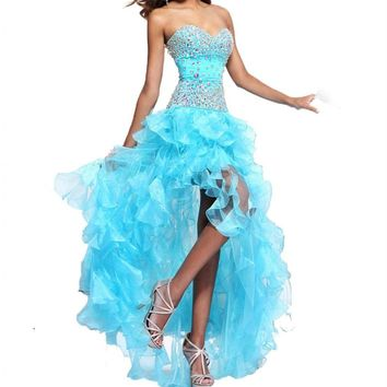 MISSYDRESS Strapless Rhinestone Bridesmaid Evening Party Prom Cocktail Dress 04-Blue US size 12