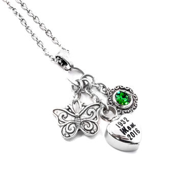 Engraved Memorial Necklace with Urn