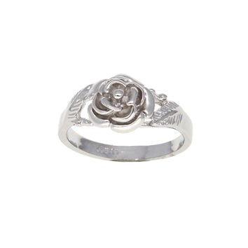 Dear Deer White Gold Plated Floral Flower Cocktail Ring