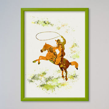 Cowboy Watercolor Poster Print Sport Rodeo Cowboy Lasso illustration Art Poster Kid's Room decor Giclee Wall Decor Wall Hanging