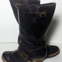 Frye 77011 Mildred Black Leather Engineer Pull Motorcycle Riding Boots Women's Size 10