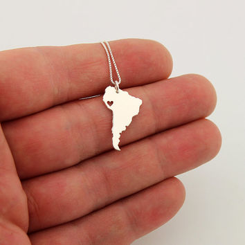 South America  necklace sterling silver i love South America necklace with heart comes with Box style chain