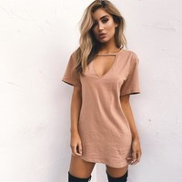 Chic keyhole mini tshirt dress
