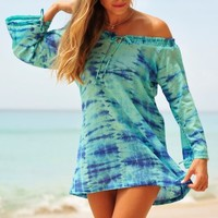 Coco Bay - Coco Bay Colony Club Cover Up Kaftan - Buy this gorgeous cotton Tie Dye Aqua beach kaftan at Coco Bay - Women's Swimwear and Seafolly bikinis - Designer Beachwear for Women - Free UK Returns