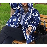 Louis Vuitton LV Winter New Classic Two-sided Wear Letter Printed Cotton Jacket Hooded Jacket