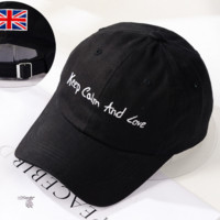 Keep Calm and Love Embroidered Baseball Cap Hat