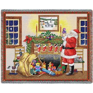 SANTAS BAG CHRISTMAS  AFGHAN THROW BLANKET