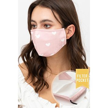 Heart Printed Protective Washable Face Mask