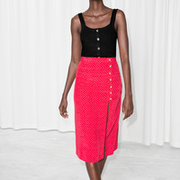 Asymmetrical Button Midi Skirt - Red / White - Midi skirts - & Other Stories US